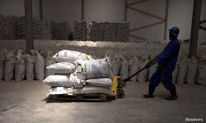 A worker pulls a trolley loaded with sacks of fishmeal produced by the Omaurci SA company in Nouadhibou, Mauritania, April 14, 2018.