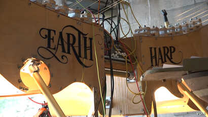 Since inventing the Earth Harp in 2000, the musician has taken to major venues around the world, from the Kennedy Center in Washington to Shanghai's Grand Theatre. (M O'Sullivan/VOA)