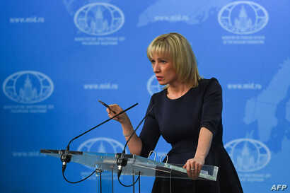 FILE - Russian Foreign Ministry spokeswoman Maria Zakharova speaks to the media in Moscow, March 29, 2018.