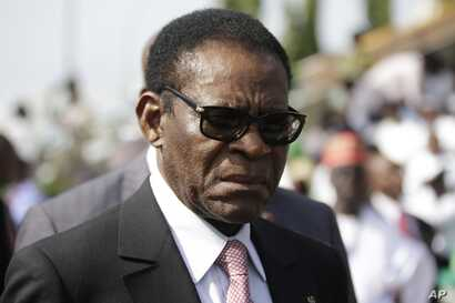 FILE - Equatorial Guinea President Teodoro Obiang Nguema Mbasogo arrives for the inauguration of the new Nigerian President, Muhammadu Buhari, in Abuja , Nigeria, Friday, May 29, 2015.