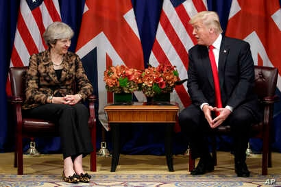 President Donald Trump meets with British Prime Minister Theresa May at the Palace Hotel during the United Nations General Assembly, Sept. 20, 2017, in New York.