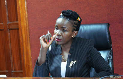 """Justice Wilfrida Okwany addresses a court session as she temporarily lifted a ban on """"Rafiki"""" - """"Friend"""" in Swahili, at the Mililani Law Courts in Nairobi, Kenya, Sept. 21, 2018."""