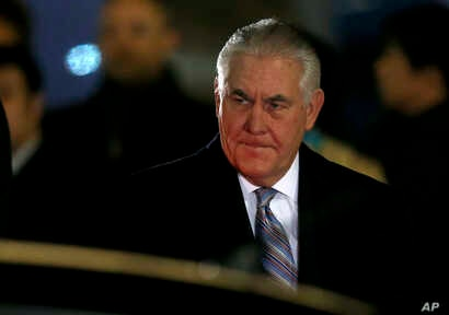 U.S. Secretary of State Rex Tillerson arrives at Haneda international airport in Tokyo, as the first stop of his tour to Asia, March 15, 2017.
