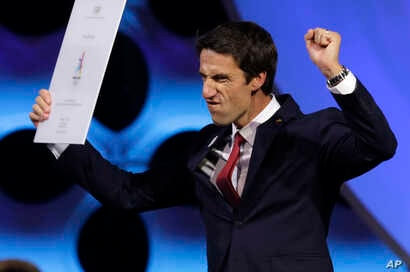 Tony Estanguet, French Olympian and co-president of the Paris Olympic bid committee, reacts at the end of an International Olympic Committee (IOC) session in Lima, Peru, Sept. 13, 2017.