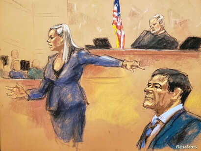 """Assistant U.S. Attorney Amanda Liskamm points at the accused Mexican drug lord Joaquin """"El Chapo"""" Guzman, right, while delivering a rebuttal during the trial of Guzman in this courtroom sketch in Brooklyn federal court in New York City, Jan. 31, 2019..."""