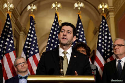 House Speaker Paul Ryan (R-WI) speaks at a news conference with Republican leaders on Capitol Hill in Washington, U.S., Jan. 18, 2018.
