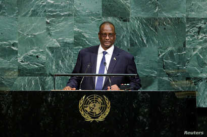 South Sudan First Vice President Taban Deng Gai addresses the 72nd General Assembly at U.N. headquarters in New York, Sept. 23, 2017.