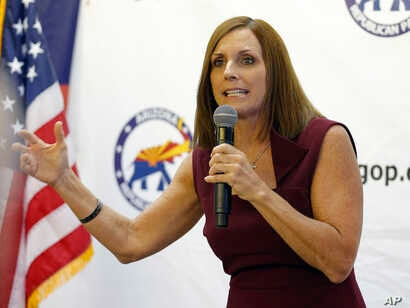 Rep. Martha McSally, R-Ariz., speaks at a campaign rally, Nov. 1, 2018, in Sun City, Ariz. McSally is running against Democrat Krysten Sinema for the U.S. Senate.