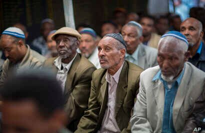 Members of Ethiopia's Jewish community protest the Israeli government's decision not to allow all of them to emigrate to Israel, leaving their families divided between the two countries,  in Addis Ababa, Ethiopia, Nov. 19, 2018.