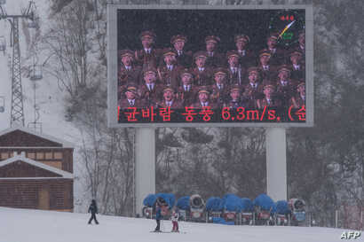 FILE - A giant screen is shown on a slope of the Masikryong ski resort, near North Korea's east coast port city of Wonsan, Feb. 19, 2017. Work began on Masikryong ski resort, the only one in the North and the brainchild of Supreme Leader Kim Jong Un,...