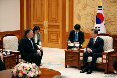 U.S. Secretary of State Mike Pompeo attends a bilateral meeting with South Korea's President Moon Jae-in at the presidential Blue House in Seoul, South Korea, June 14, 2018.