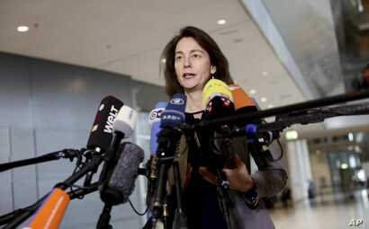 Justice Minister Katarina Barley delivers a statement in Berlin, March 22, 2018. Barley says she is calling in Facebook's European leadership to explain the scandal involving data mining firm Cambridge Analytica and detail whether German users' data ...