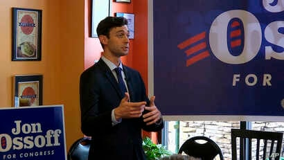 Democrat Jon Ossoff campaigns at a restaurant in Alpharetta, Ga., June 16, 2017, ahead of a runoff election to replace former Representative Tom Price. The 6th Congressional District stretches across greater Atlanta's northern suburbs.