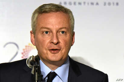 French Economy Minister Bruno Le Maire delivers a speech during a news conference during the G-20 meeting of finance ministers and central bank governors, in Buenos Aires, March 20, 2018.