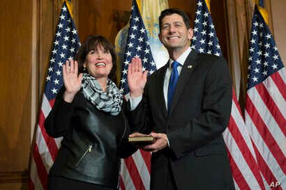 House Speaker Paul Ryan of Wis. administers the House oath of office to Rep. Betty McCollum, D-Minn., during a mock swearing in ceremony on Capitol Hill in Washington, Jan. 3, 2017.
