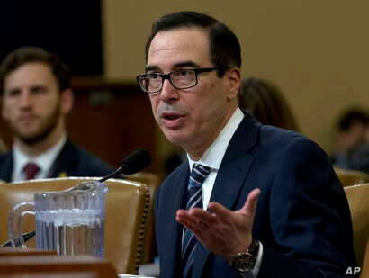 Treasury Secretary Steven Mnuchin testifies before the House Ways and Means Committee on Capitol Hill in Washington, March 14, 2019.