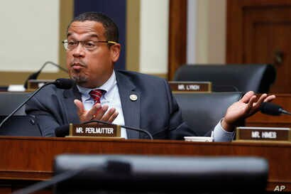 FILE - Rep. Keith Ellison, a Minnesota Democrat, asks a question at a House Committee hearing in Washington, July 18, 2018.
