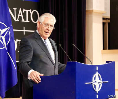 U.S. Secretary of State Rex Tillerson delivers remarks during a press availability at NATO in Brussels, Belgium, Dec. 6, 2017.