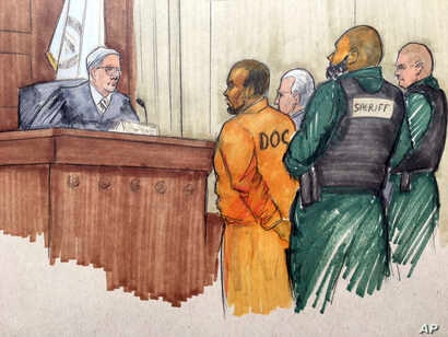 In this courtroom sketch, R&B singer R. Kelly appears before Cook County Associate Judge Lawrence Flood with his attorney Steve Greenberg, Feb. 25, 2019, at the Leighton Criminal Courthouse in Chicago.