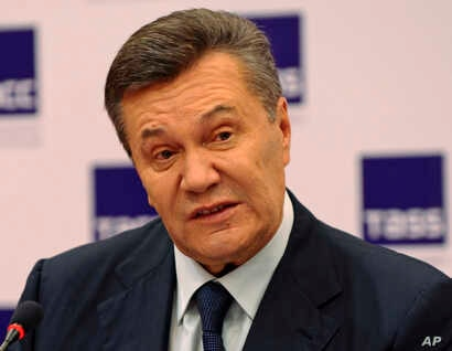 Ukraine's ousted president Viktor Yanukovych speaks at a news conference in Rostov-on-Don, Russia, Nov. 25, 2016.