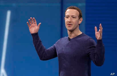 Facebook CEO Mark Zuckerberg delivers the keynote address at a Facebook developers conference in San Jose, California, May 1, 2018. Zuckerberg has come under fire from some groups for saying that Holocaust denial should not be banned on the social me...