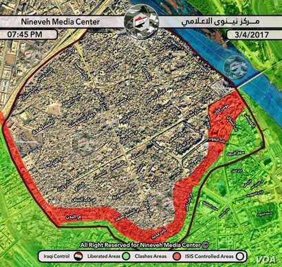 This map shows where Iraqi forces are battling IS militants in Mosul's Old City, where soldiers have surrounded the area on three sides for weeks. (Courtesy of Nineveh Media Center)
