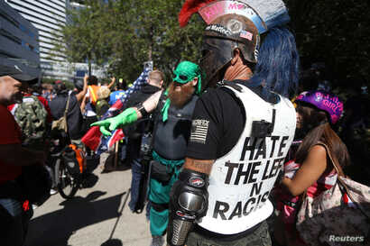 Members of the right-wing Patriot Prayer group gather before a rally in Portland, Ore., Aug. 4, 2018.