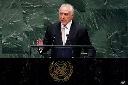 Brazil's President Michel Temer addresses the 73rd session of the United Nations General Assembly, at U.N. headquarters,  Sept. 25, 2018.