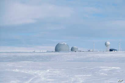 This photo taken on April 3, 2019, shows a radar facility on Kotelny Island, part of the New Siberian Islands archipelago located between the Laptev Sea and the East Siberian Sea, Russia.