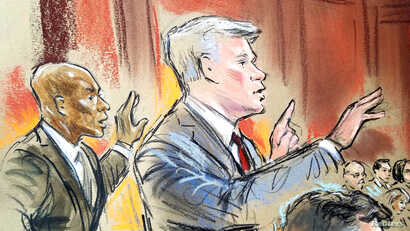 Prosecutors in the Paul Manafort trial,  Uzo Asonye, left,  and Greg Andre, are shown in a courtroom sketch on the fifth day of trial.