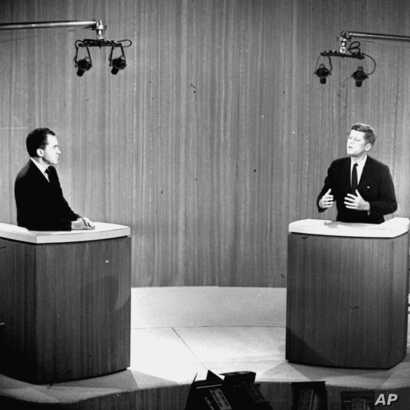 FILE - Democratic Sen. John F. Kennedy, right, speaks and Republican Vice President Richard Nixon listens during the fourth presidential debate from a New York studio. The fall debates are always a big part of any presidential campaign. But with many...