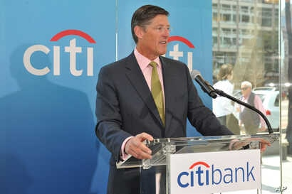 Michael Corbat, CEO, Citigroup Inc., speaks at a Citibank branch ribbon cutting on April 10, 2013 in Washington.