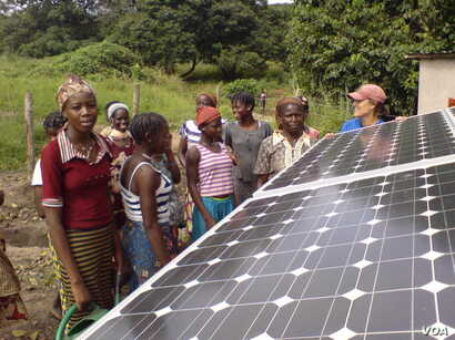 Photovoltaic cells in the solar panels, such as these in a village in Benin, convert sunlight into electricity