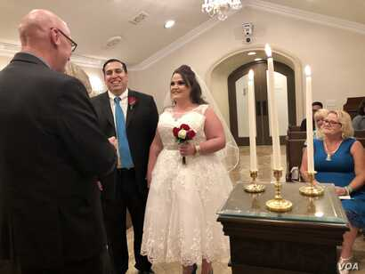 The newly wed Josh and Lacey Trujillo. Lacey wanted to get married on the weekend of the anniversary of the shooting to overshadow the tragic memories with new joyful ones.