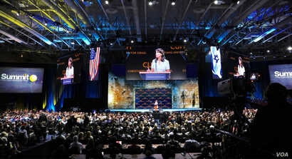 U.S. Ambassador to the U.N. Nikki Haley addresses a conference of Christians United for Israel, in Washington, D.C., July 23, 2018.
