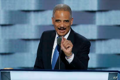 Former Attorney General Eric Holder speaks during the second day of the Democratic National Convention in Philadelphia , July 26, 2016.