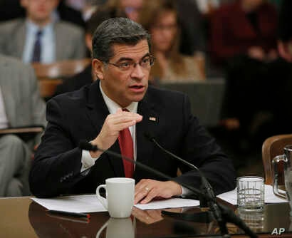 California Attorney  General Xavier Becerra responds to a lawmakers question during during his confirmation hearing, Jan. 10, 2017.