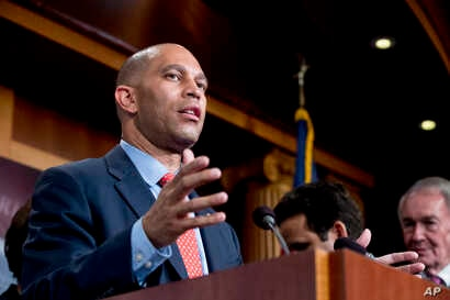 Rep. Hakeem Jeffries, D-N.Y., speaks at a news conference on Capitol Hill in Washington, May 16, 2018.