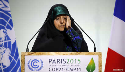 Vice President of the Islamic Republic of Iran Masoumeh Ebtekar delivers a speech during the opening session of the World Climate Change Conference 2015 (COP21) at Le Bourget, near Paris, France, Nov. 30, 2015.