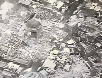 This image provided by U.S. CENTCOM shows al-Nuri mosque destroyed by the Islamic State group, in Mosul, Iraq, June 21, 2017.