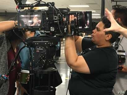 Angelica Reyes is from Puerto Rico. She attends the LA Film School. She is going to be a senior and she wants to be a cinematographer. in the Academy Gold program, she worked for Panavision, a provider of camera and production equipment.