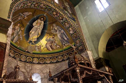 A view of the mosaic of transfiguration, which covers the surface of 46 meters square inside the basilica of the monastery of Saint Catherine, is shown, Dec 16, 2017, in South Sinai, Egypt.