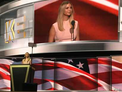Ivanka Trump introduces her father, Donald Trump, as the Republican presidential nominee, in Cleveland, July 21, 2016.