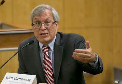 """Erwin Chemerinsky, dean of the University California, Berkeley law school, discusses the issues of balancing free speech and public safety in the face of clashes between supporters of controversial right-wing speakers and left-wing """"anti-fascist"""" dem..."""
