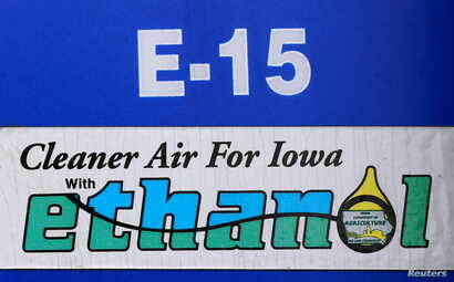 FILE - A gas pump selling E15, a gasoline with 15 percent of ethanol, is seen in Mason City, Iowa, May 18, 2015.
