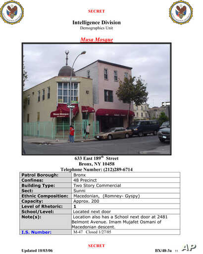 """FILE - A New York Police Department, Intelligence Division, Demographics Unit document titled """"Syrian Locations of Concern Report"""" shows an entry on a mosque in the Bronx borough of New York."""