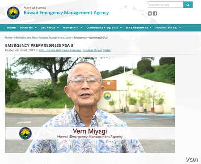 """Vern Miyagi appears in a PSA announcing the addition of the Nuclear Warning to the monthly """"Attention Alert"""" test."""