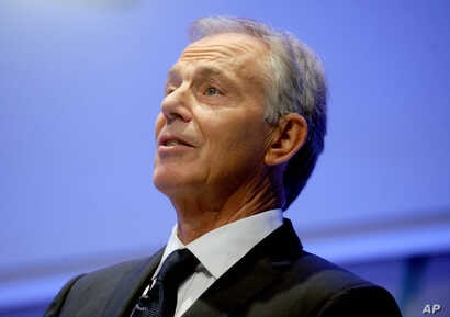 Former British Prime Minister Tony Blair speaks on religion and geopolitics at the 9/11 Memorial Museum in New York, Oct.6, 2015.
