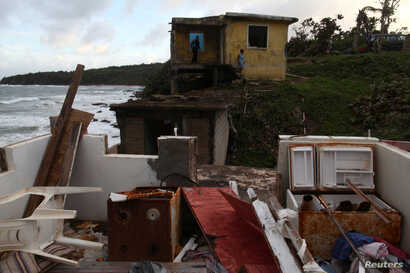 The remains of a house are seen in the El Negro neighbourhood, after Hurricane Maria hit the island in September 2017, in Maunabo, Puerto Rico, Jan. 27, 2018.