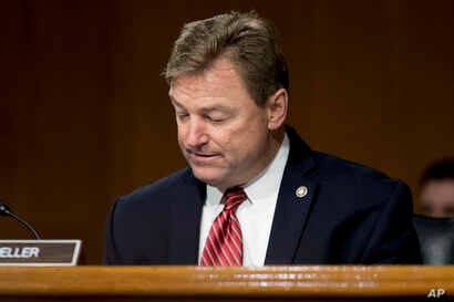 FILE - In this Feb. 14, 2017, photo, Sen. Dean Heller (R-N.V.) in Washington, on Capitol Hill, at a hearing.